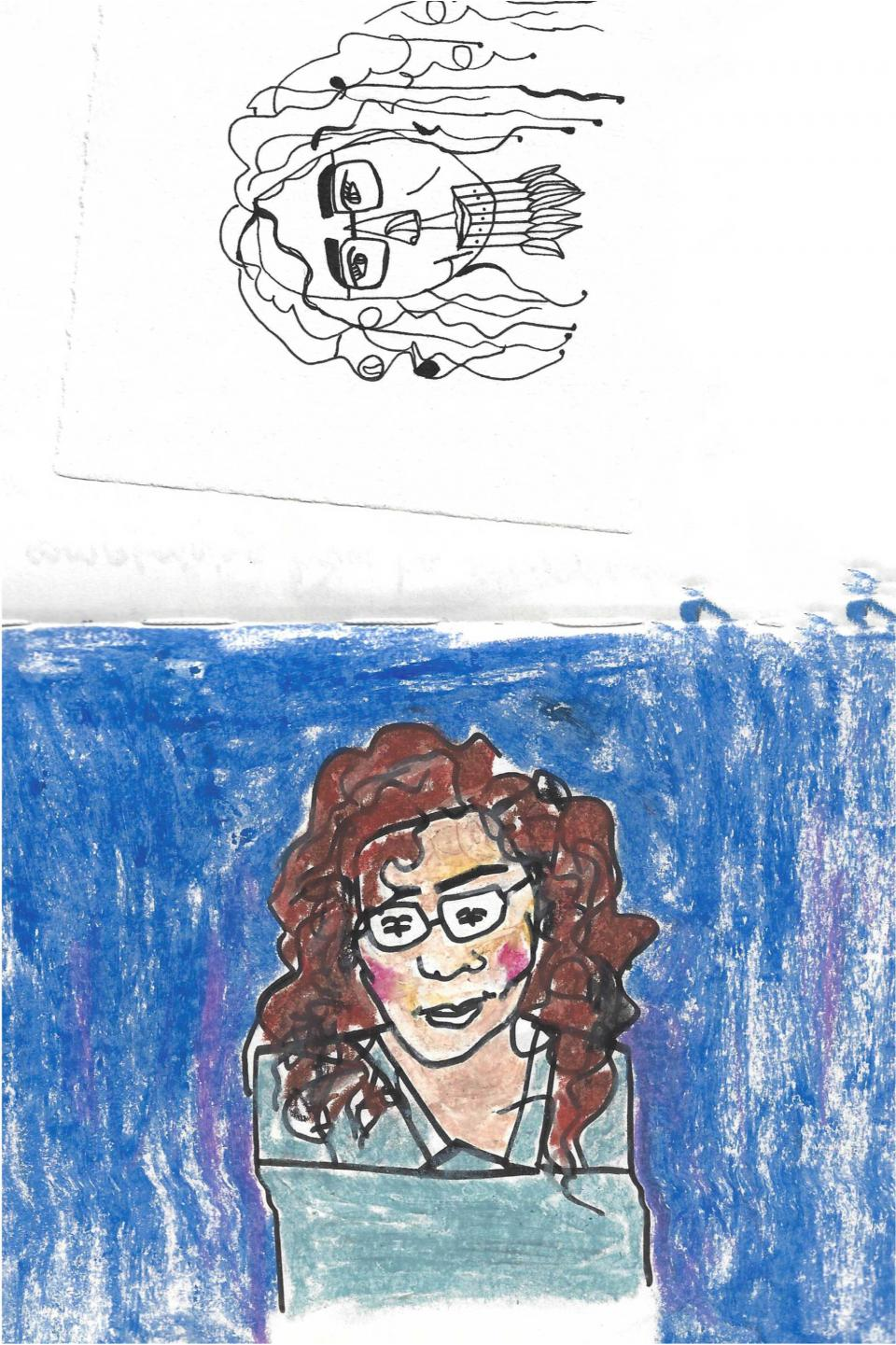 صورة 1: أيّهما أنا؟، حبر وباستيل على ورق، رسم: بكريّة صائب