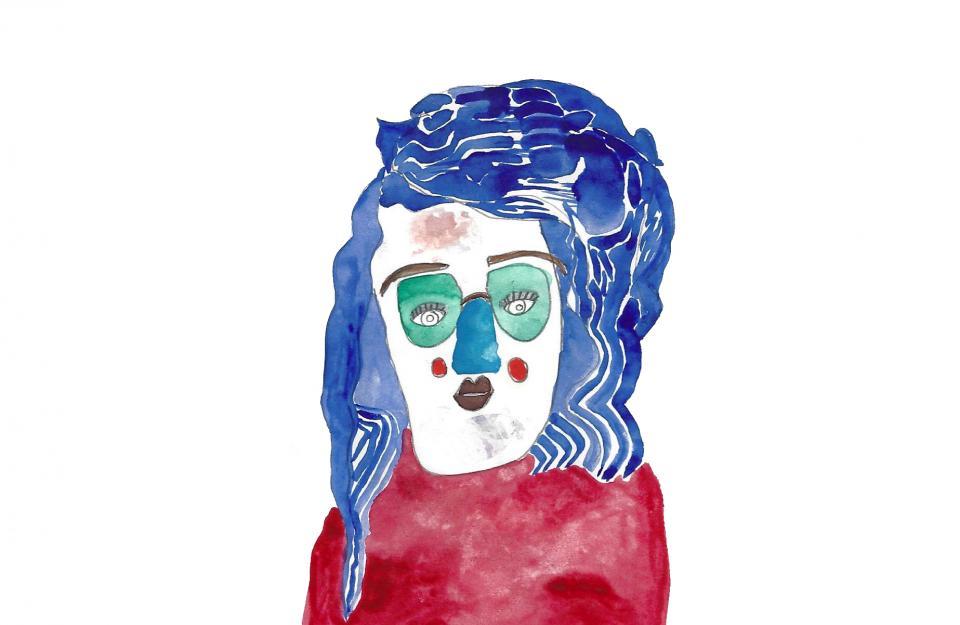 صورة 2: تصوير ذاتيّ، ألوان مائيّة ورصاص على ورق، رسم: بكريّة صائب